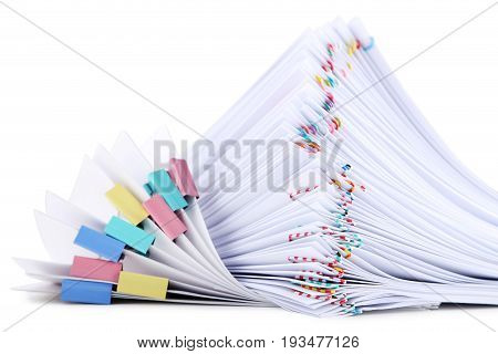 Stack Of Papers With Paperclips And Clamps On White Background