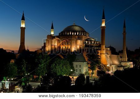 View of Hagia Sophia after sunset, Istanbul Turkey
