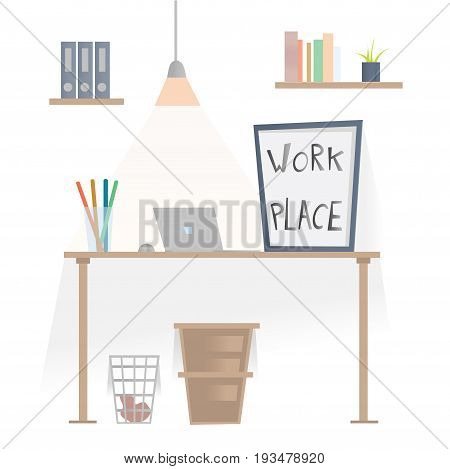 Workplace in office. Desk with laptop, shelves with folders and wastepaper basket under the table. Vector illustration, isolated on white background.