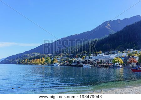 Beautiful Queenstown on Lake Wakatipu in Autumn South Island of New Zealand