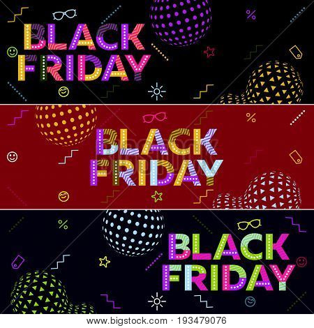 A set of Black friday sale banners. Special discounts. Poster Sale. The original inscription. Modern banner in the memphis style. Template for advertisement. Vector illustration