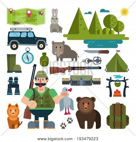 Hunter with rifle and dog in the woods. Set of flat icons for hunting. Wild boar, bear, compass, tent, woods.