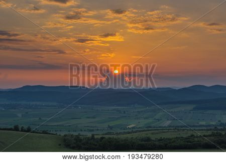 Beautiful and amazing sunset on country side