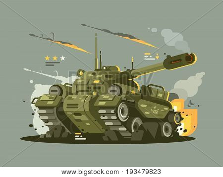 Military combat tank in fire with full of weapons. Vector flat illustration