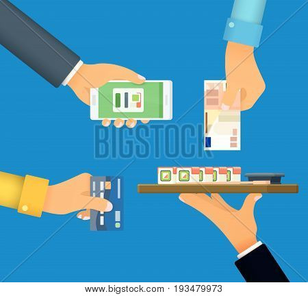 Cashless and cash payment. Payment by credit card, payment online, cash. Hand with phone. Template for advertising and web banner in a flat style. Vector illustration