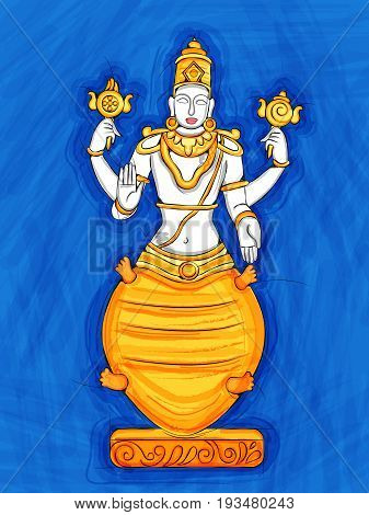 Vector design of Vintage statue of Indian Lord Kurma sculpture one of avatar from the Dashavatara of Vishnu engraved on stone