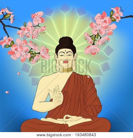Hand drawn Buddha Siddhartha Gautama with mandala and sakura flowers on background. Artwork.