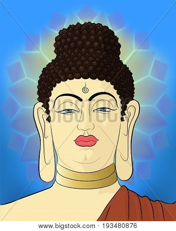 Hand drawn Portrait of Buddha Siddhartha Gautama with mandala on background. Artwork.