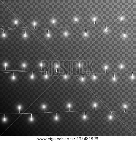 Christmas garland with bulbs isolated on translucent background