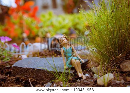 Fairy Garden With Gnomes.