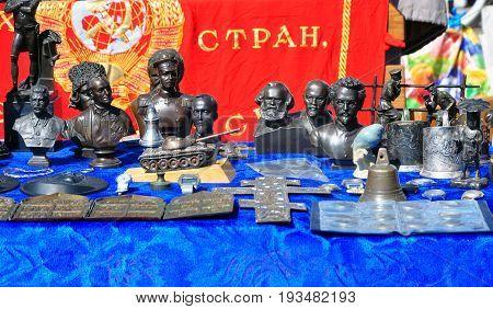 Grodno, Belarus - May 28, 2017: Figurines of historical Soviet celebrities on a flea market in Grodno.