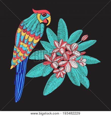 vector embroidery pattern with parrot and flower Plumeria embroidery. Frangipani and leaves on black background