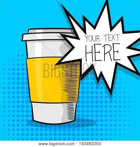 Pop art advertise poster. Mockup paper hot tea coffee mug. Beautiful wow bright color poster. Comic text cartoon speech sale bubble, balloon cloud box. Vector halftone illustration.