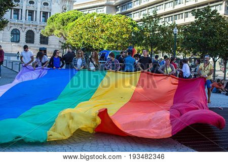PORTO, PORTUGAL - JULY 1, 2017: Participants at the Gay Pride parade in the centre of the old downtown.