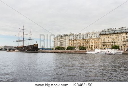 St. Petersburg Russia - 28 May, Ships at Mytninskaya embankment, 28 May, 2017. Famous sightseeing places of St. Petersburg for tourists.