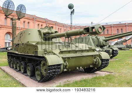 St. Petersburg Russia - 28 May, Self-propelled howitzers Acacia, 28 May, 2017. Military History Museum of combat equipment in St. Petersburg.