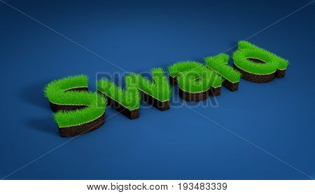 3D illustration turf athletic fields landscaping and advertising seeding,3D image