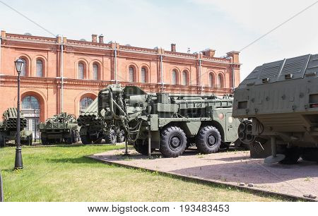St. Petersburg Russia - 28 May, Heavy military equipment, 28 May, 2017. Military History Museum of combat equipment in St. Petersburg.