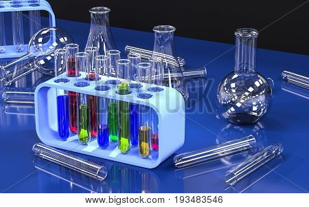 Chemistry lab with test tubes. 3D rendering.