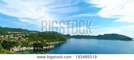 Beautiful panoramic view of the small Mediterranean town Kash (Kas) in Antalya province Turkey.