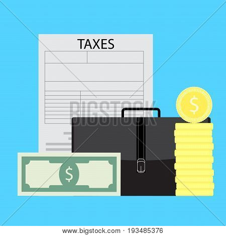 Taxation of business entrepreneurs. Pay tax money vector finance tax audit illustration
