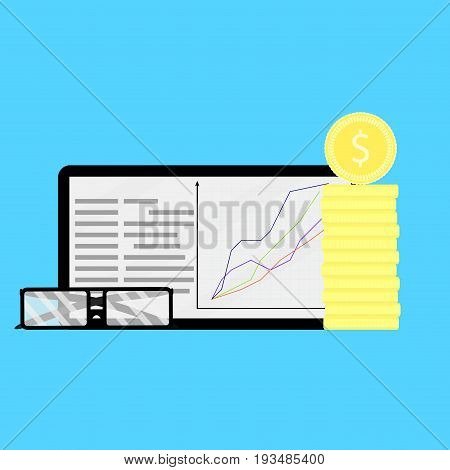 Growth of shares on financial market. Growth financial share stock market finance money vector illustration information rate and index value