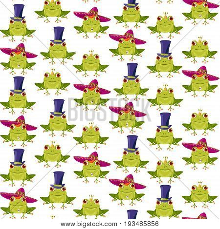 Frog in a crown a sombrero and a top hat. Frogs in various hats. Seamless background pattern. Vector illustration