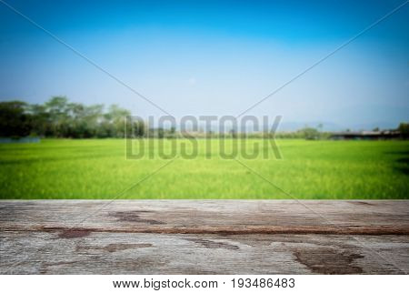 Selected focus empty old wooden table and cornfield or meadow blur background with bokeh image. for your photomontage or product display.
