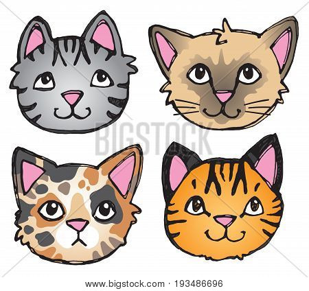 A vector set of 4 cat's faces drawn in a scratchy style.