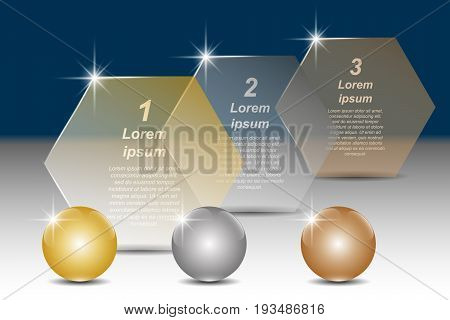 Set of golden, silver and bronze balls and hexagonal transparent banners for text. Vector illustration EPS10 for infographic template, presentations, brochures, flyer, banner, website