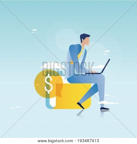 Financial consulting, finance guidance, business advisor, investment assistance, business and finance strategy and planing vector illustration design for mobile and web graphics