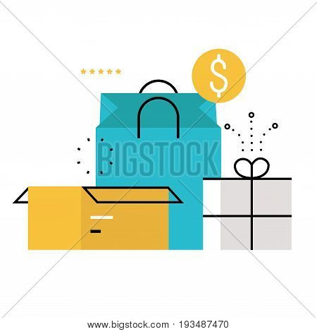 E-commerce, e-shopping, online purchase and delivery process flat line vector illustration design for mobile and web graphics