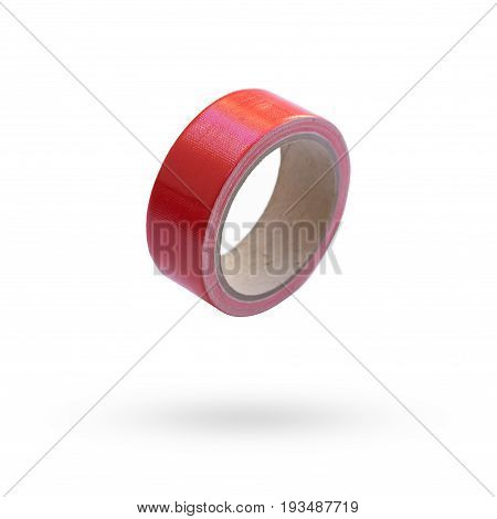adhesive tape red isolated on white background