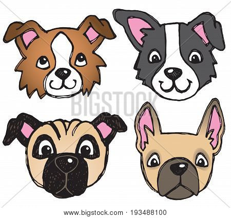 A vector set of 4 dog's faces drawn in a scratchy style.