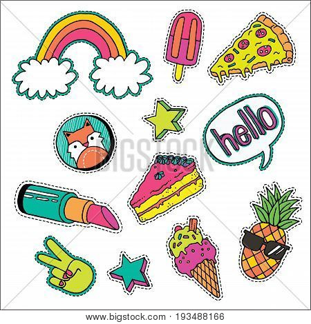 A set of quirky cartoon patch badges or fashion pin badges