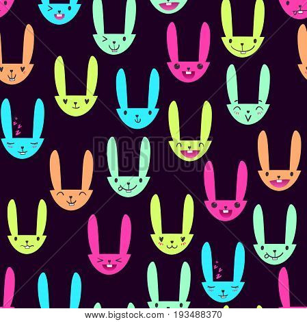 Bright color seamless pattern with cute Easter bunny faces with happy and lovely emotions, hand-drawn rabbits with various expressions, EPS 10