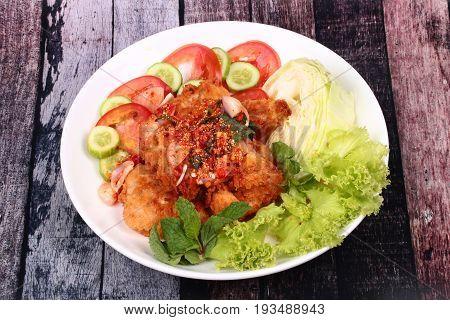 Spicy Crispy Deep-fried Chicken Salad.