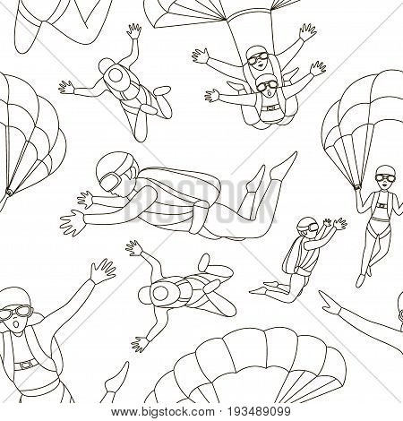 Pattern of Skydivers, Parachuting Silhouettes. Vector illustration EPS 10