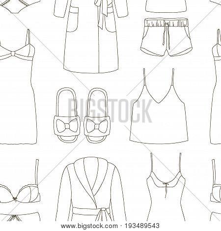 Set of womens homewear, sleepwear and underwear pattern. Vector illustration, EPS 10