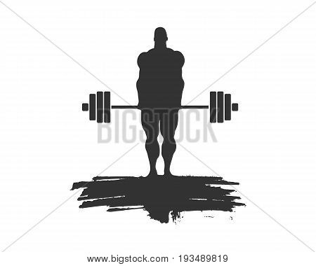 bodybuilder and barbell silhouettes. Bodybuilder posing on grunge brush stroke.