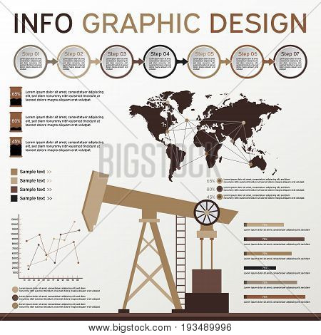 Oil Industry Elements. Info Graphics Set. Vector Elements