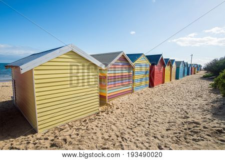 Brighton beach an iconic landmark place of Melbourne, Victoria state of Australia.