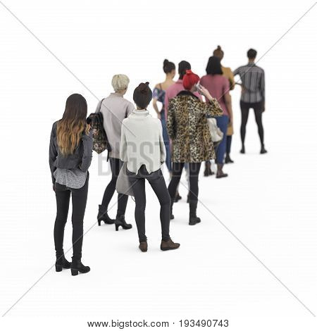 Back View Of Standing Girls In Queue. Illustration On White Background, 3D Rendering Isolated.