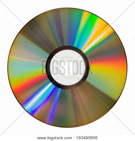 top view of iridescent cd rom on white background