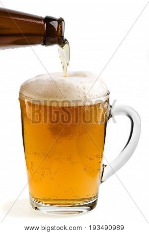 Frosty fresh beer poured in the glass