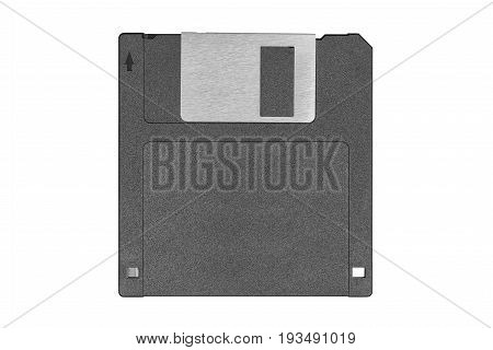 top view of a black vintage floppy disk on white background