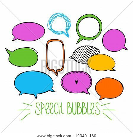 Set of hand-drawn oval speech bubbles, vector abstract illustration of rounded speech bubbles, EPS 8