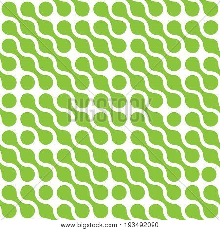 Abstract background of green connected dots in diagonal arrangement on white background. Seamless pattern vector illustration.
