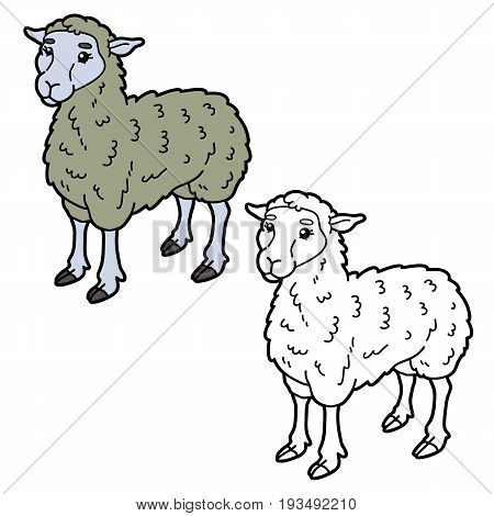 Vector illustration coloring page of happy cartoon sheep for children, coloring and scrap book