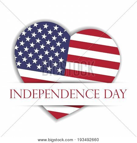 Independence Day Card. US flag in a shape of heart in the paper pocket with label Independence Day. USA 4th of July theme. Vector illustration.